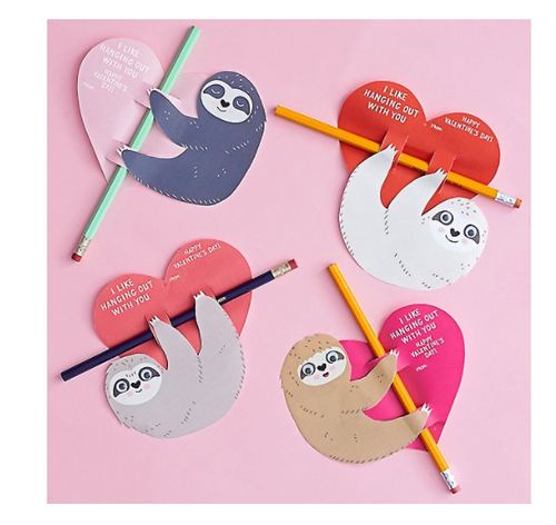 Sloth With Pencil DIY Valentine Cards