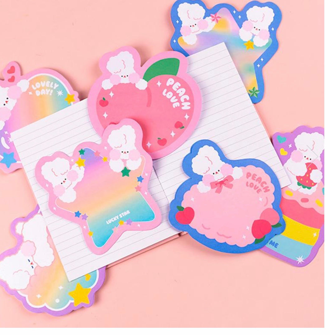 Rainbow Rabbits Memo Sheets