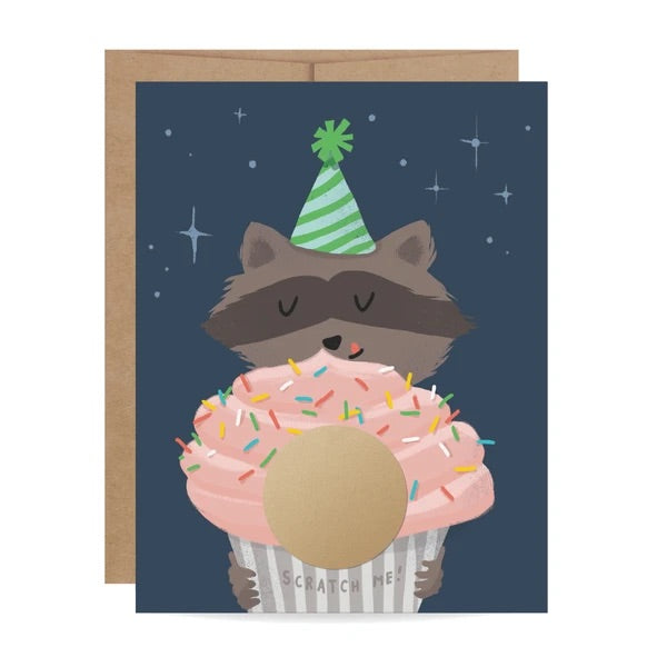 Raccoon Birthday Scratch Off Card
