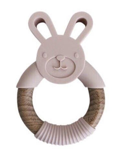 Bunny Silicone + Wood Teether - Ballet Slippers