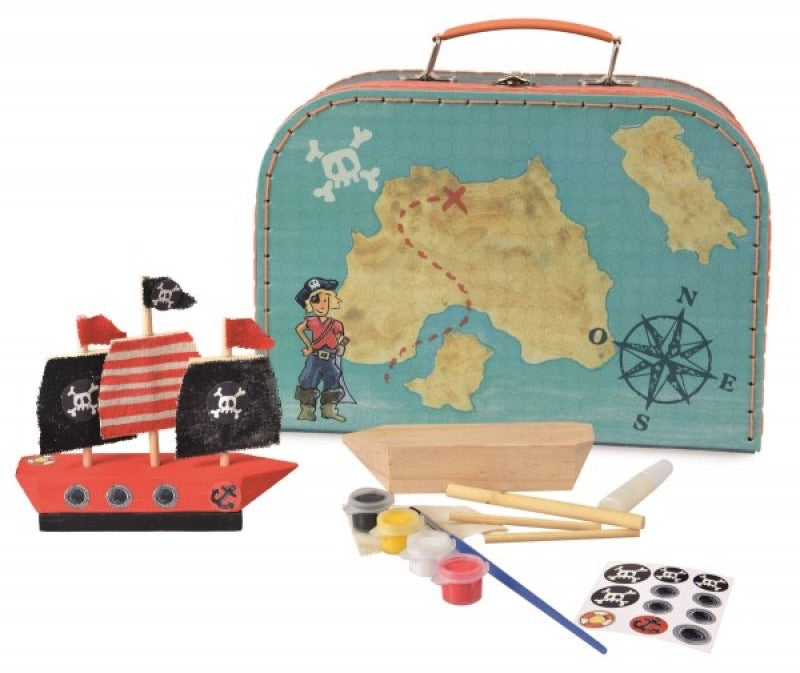 Wooden Pirate Ship to Paint