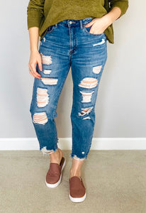 Distressed High-Rise Mom Jeans