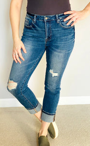 Mid-Rise Cuffed Denim