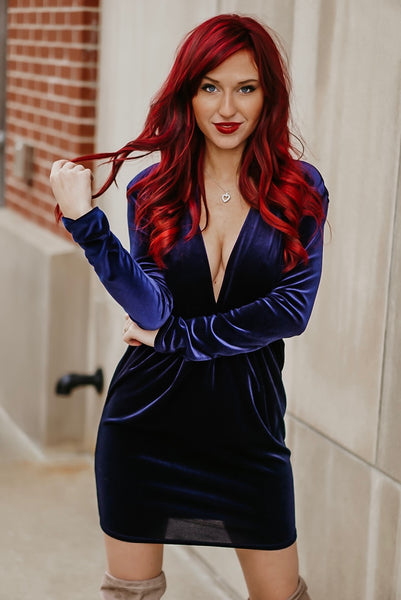 Grand Affair Plunging Velvet Dress