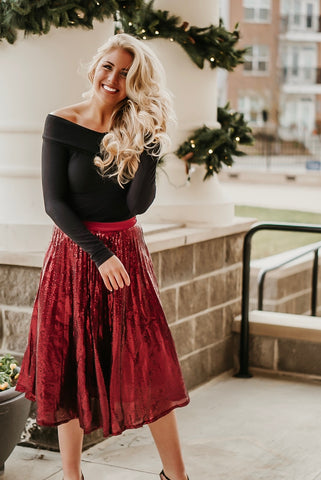 She Sparkles Wine Sequin Midi Skirt