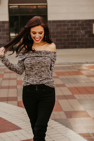 Take It Easy Off The Shoulder Long Sleeve Top