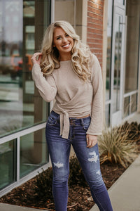 Keepin' It Real Long Sleeve Wrap Sweater in Oatmeal