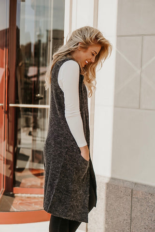 Now & Later Heather Grey Long Textured Sweater Vest