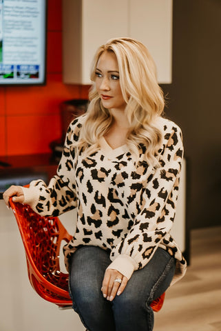 Want It Right Meow Cheetah Print Sweater