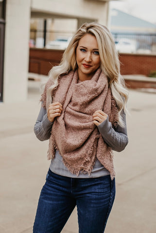 Hello Again Blush Textured Blanket Scarf