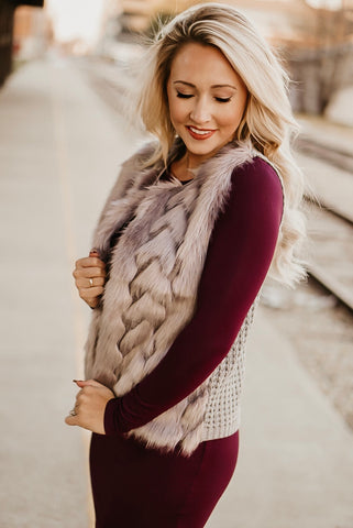 Warms My Soul Fur Vest in Grey