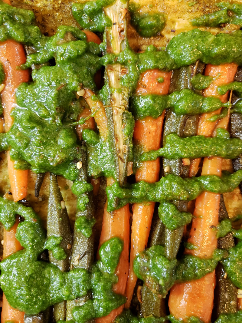 Roasted Baby Carrots & Okra with MykChilli Carrot Top Pesto