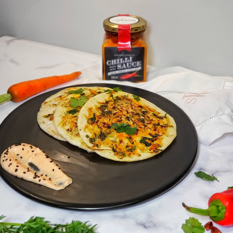 Carrot Uttapam with Spicy MykChilli Cashew Chutney