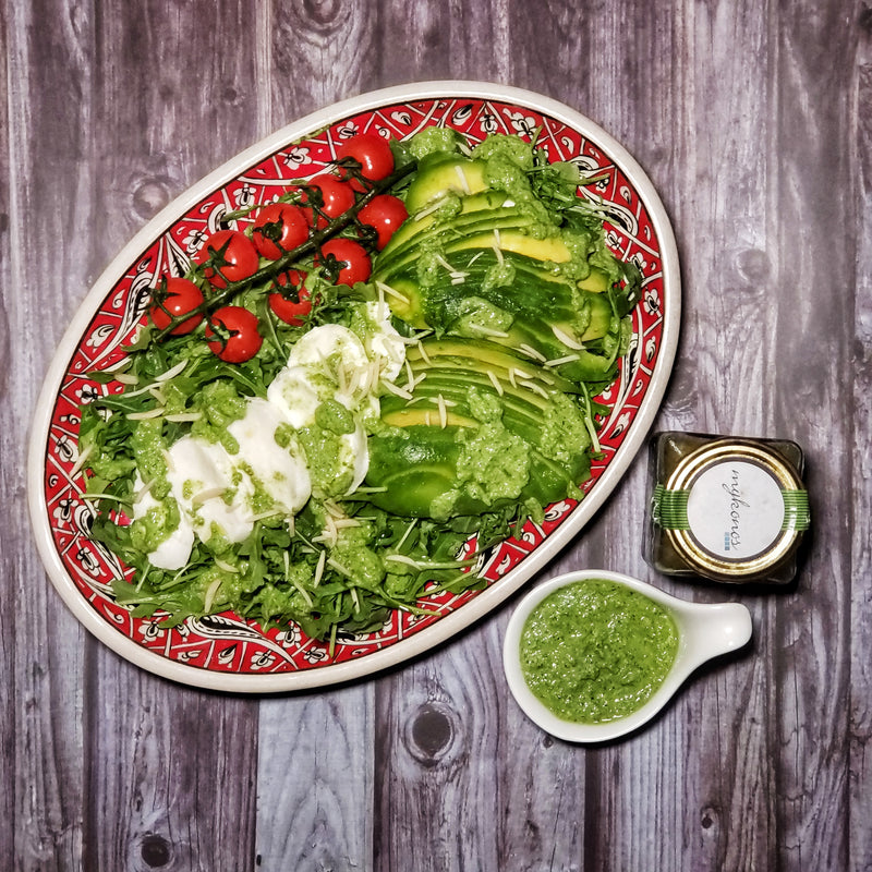 Caprese Salad with MykChilli Green Goddess Dressing
