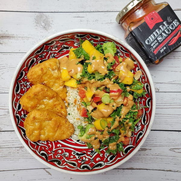 "Mango ""burrito"" bowls with MykChilli Spicy Peanut Sauce"