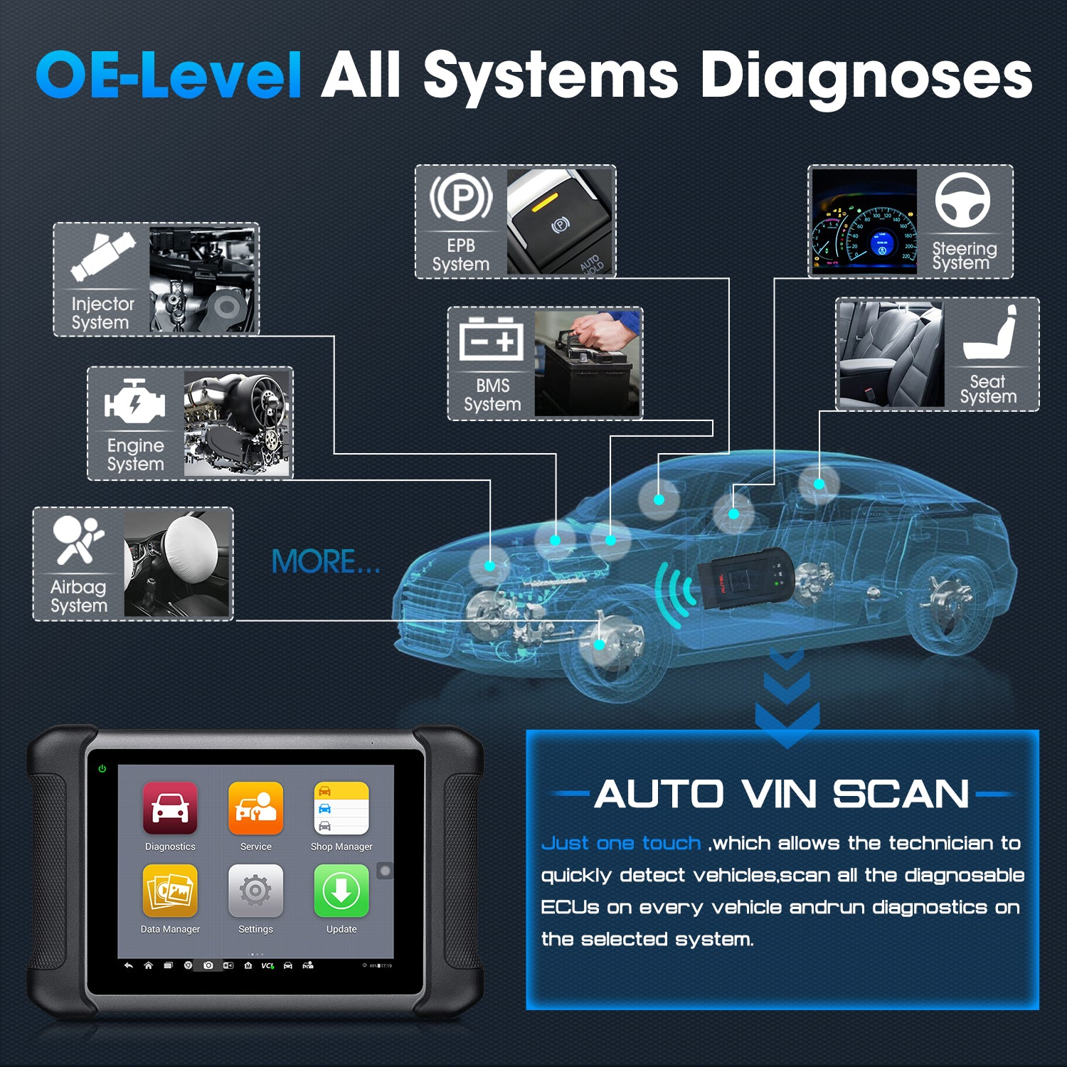 Autel MaxiSys MS906BT OE-Level All Systems Diagnoses