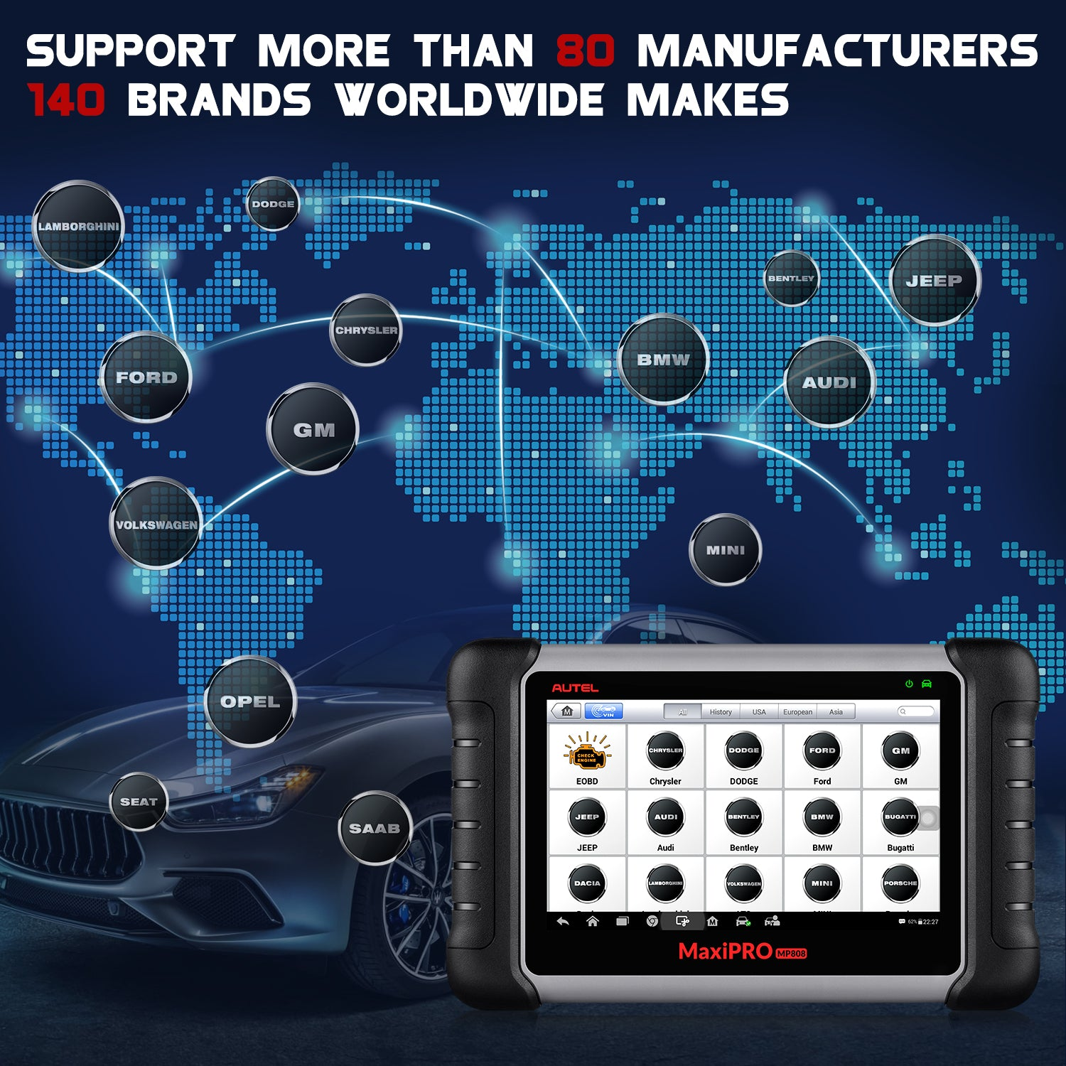 Autel MaxiPro MP808K OE-level All System OBD2 Diagnostics Tool Supports More Than 80 Manufactures 140 Brands