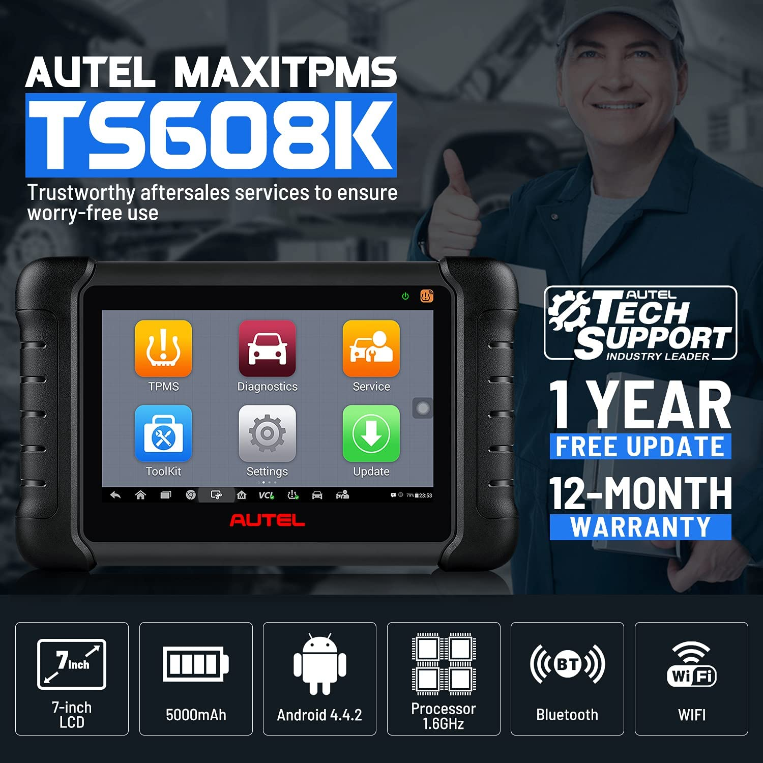 Autel MaxiTPMS TS608K TPMS Diagnostic Scan Tool Trustworthy aftersales services to ensure worry-free use
