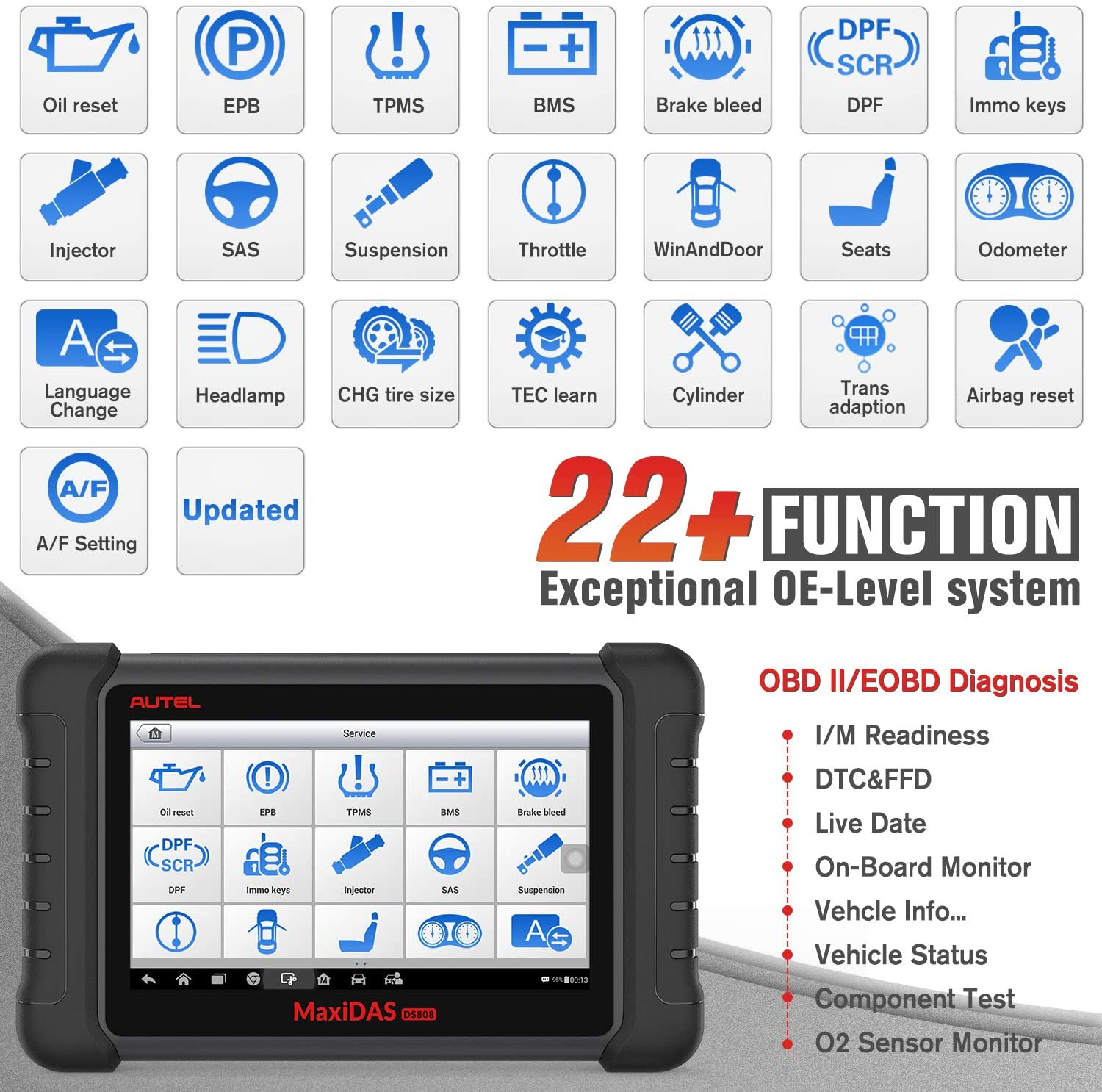 Autel MaxiDAS DS808K Full Systems OBD2 Diagnostic Tool Supports more than 22+ Functions