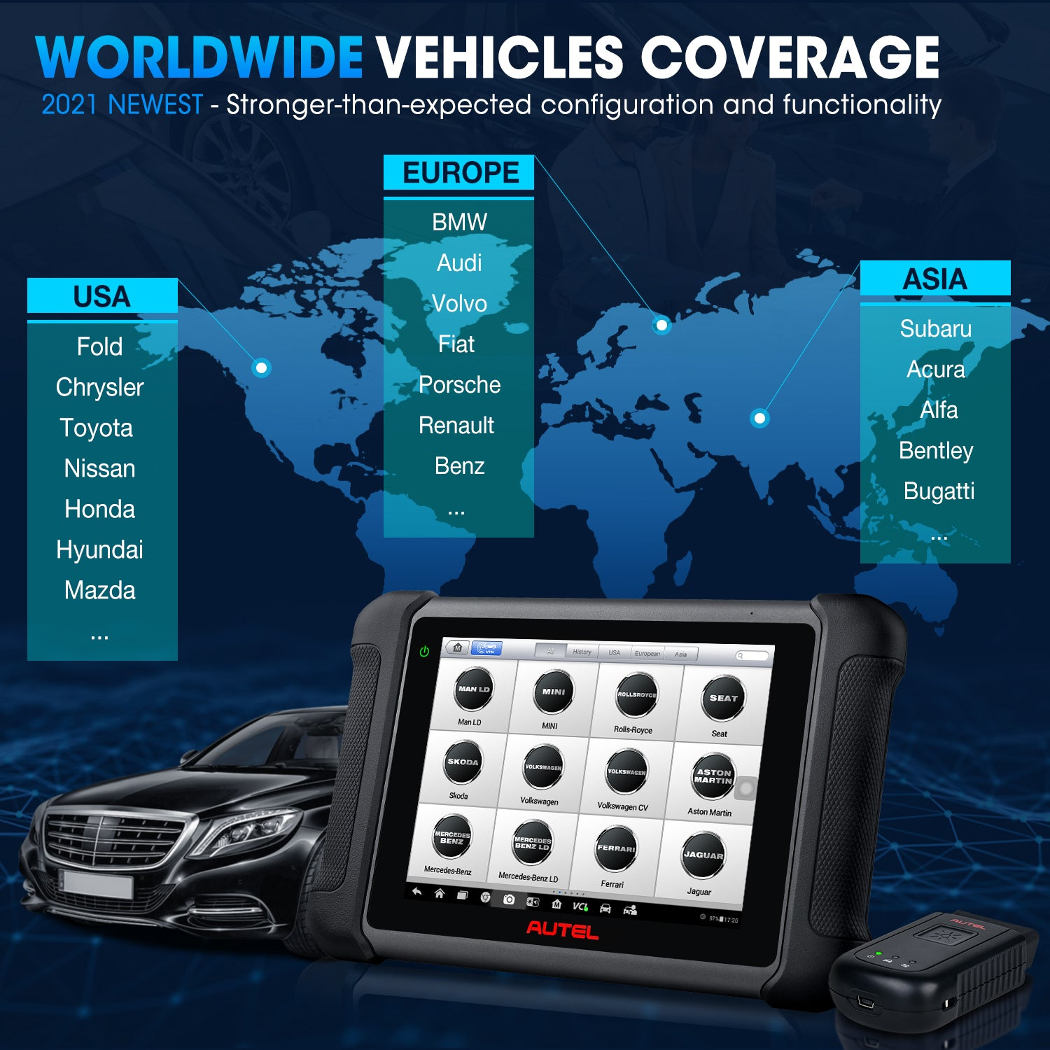 Autel MaxiSys MS906BT Worldwide Vehicle Coverage