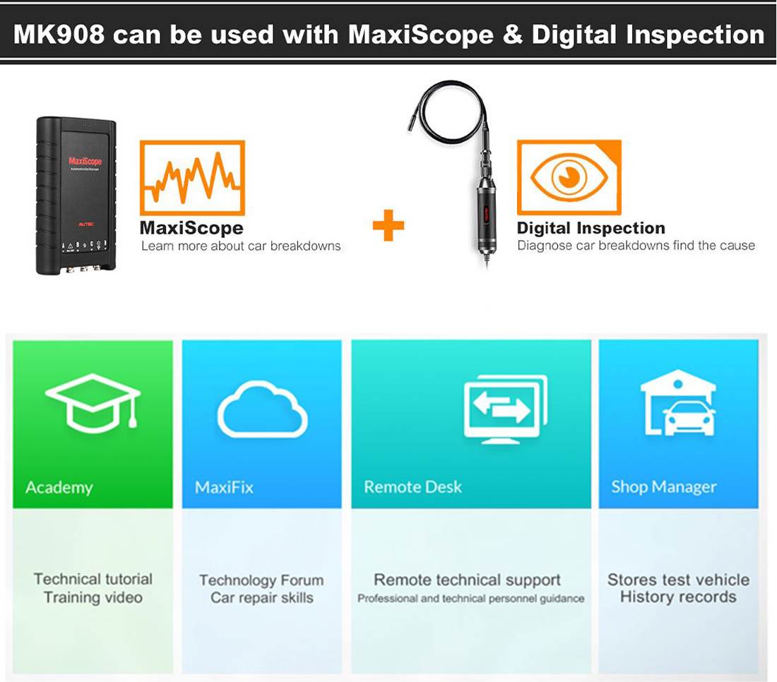 Autel MaxiCOM MK908 Advanced Full Systems Diagnostic Tool Supports be used with MaxiScope & Digital Inspeacion