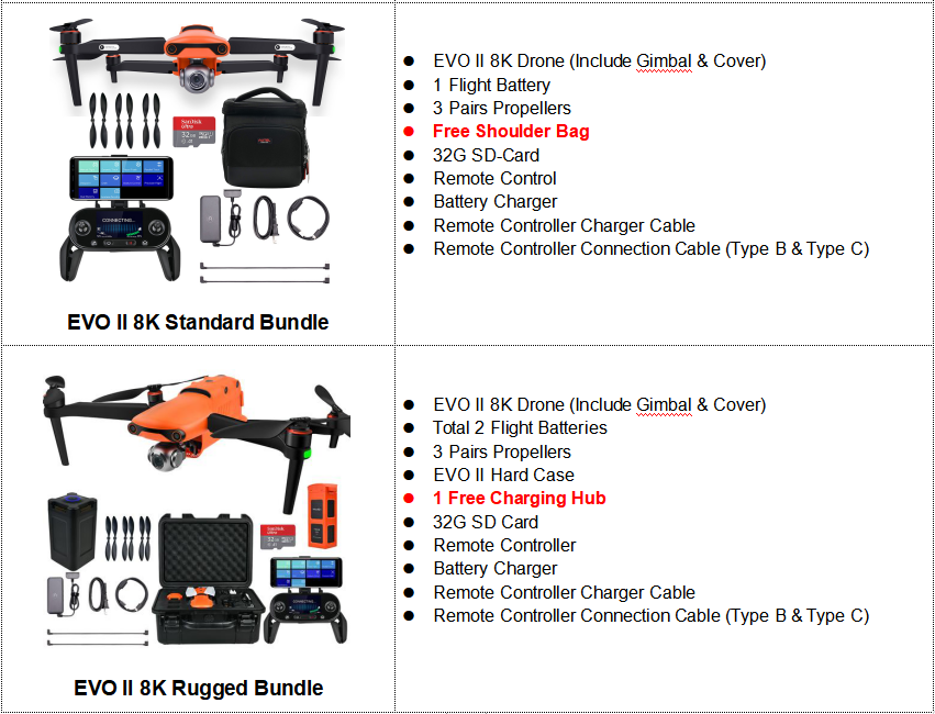 Atuel EVO II 8K Drone 2 Options Package Compare