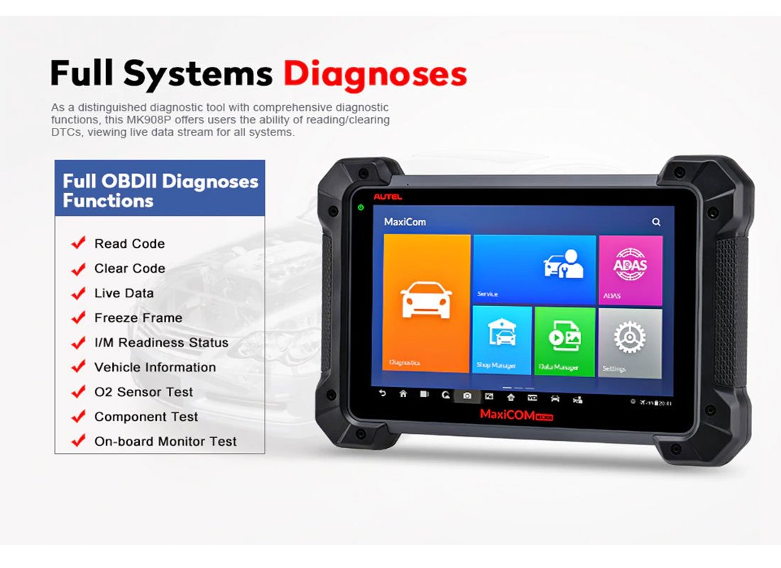 Autel MaxiCOM MK908 Advanced Full Systems Diagnostic Tool With Comprehensive Diagnostic Functions