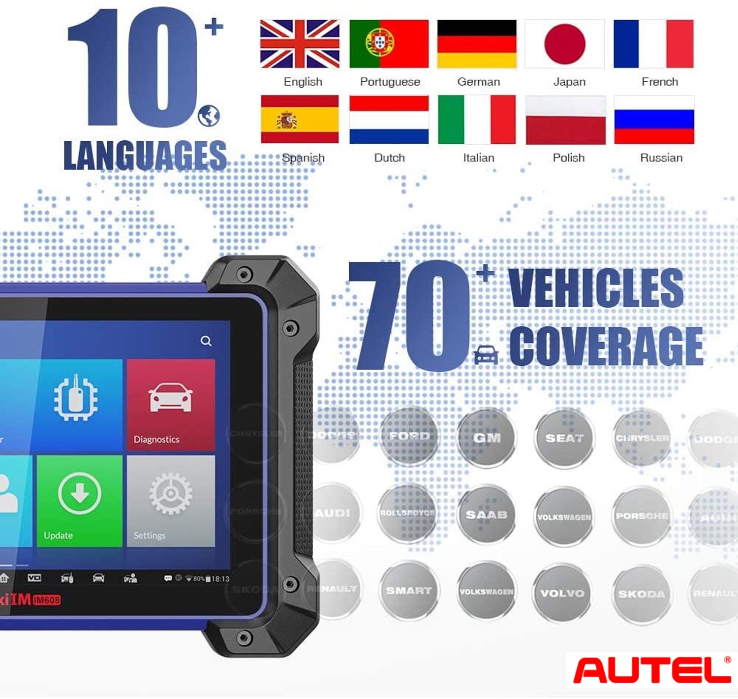 Autel MaxiIM IM608 Key Programming Tool Supports 10+ Languages and 70+ Vehicles Coverage