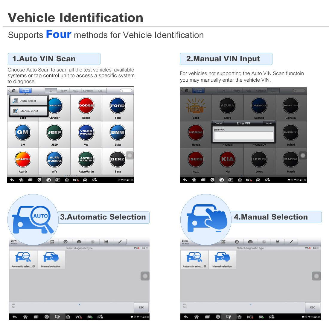 MaxiCOM MK808BT 4 methods for Vehicle Identification