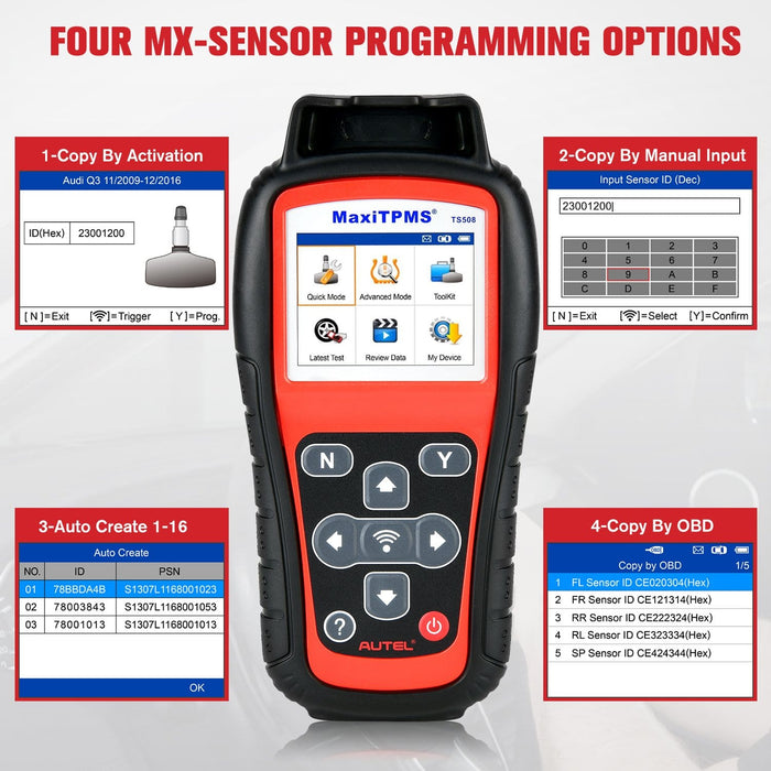 Autel TS508 Auto TPMS Scanner Tire Pressure Monitoring System Tool Program ECU Key