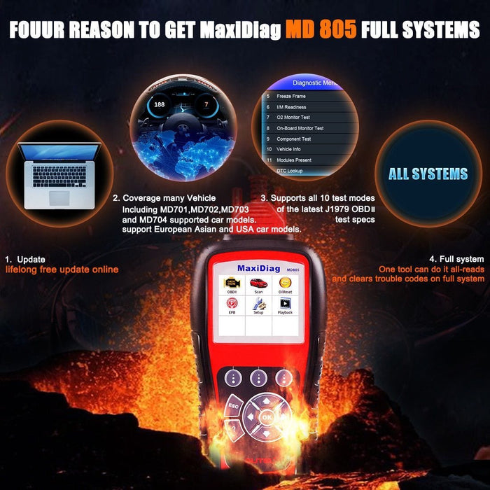 Autel MaxiDiag MD805 All System OBD2 Scanner ABS SRS DPF EBP Code Reader