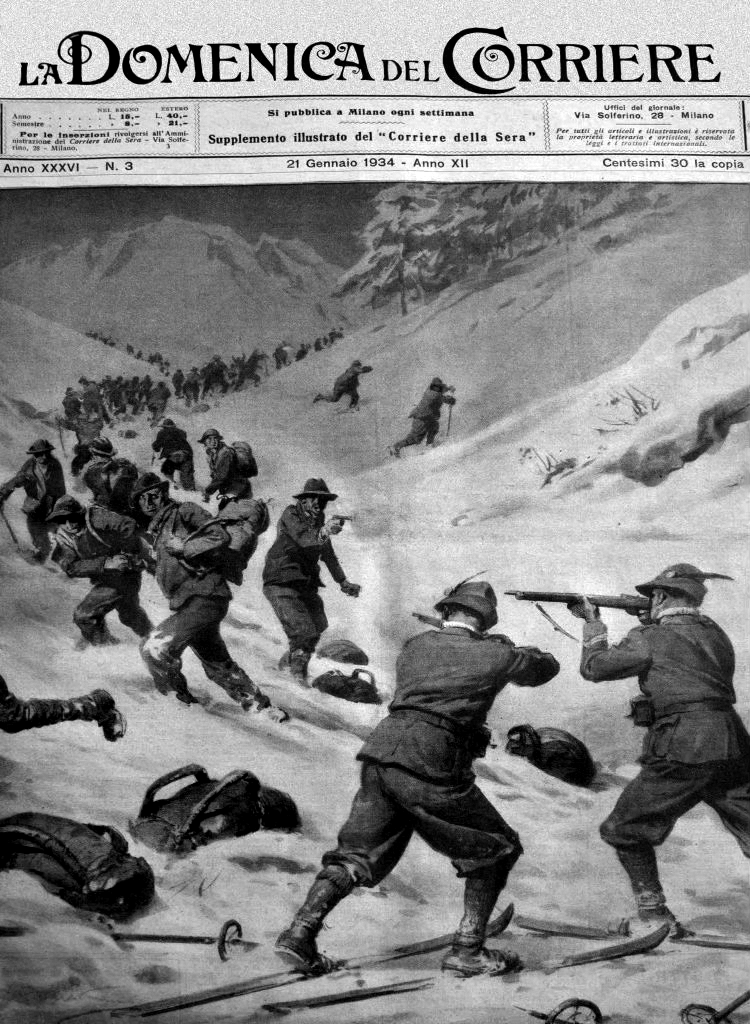 Cover image of the Corriere newspaper showing a gunfight between smugglers and Guardia di finanza