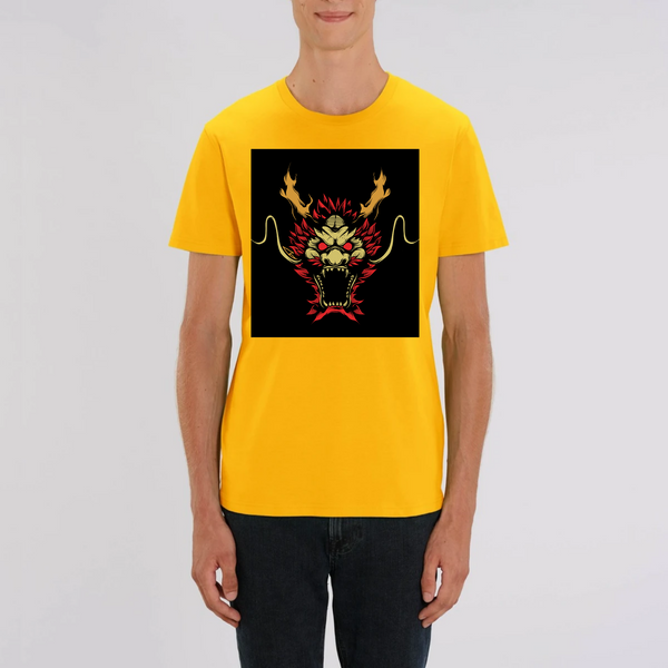 T-Shirt Yoga Homme Black Dragon 100% Coton Bio - chakras-yoga.com
