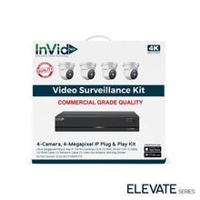 Load image into Gallery viewer, InVid ELEV-8CHTX4MPKITIP 4 Camera, 4 Megapixel IP Plug & Play Kit
