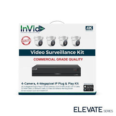 InVid ELEV-8CHTX4MPKITIP 4 Camera, 4 Megapixel IP Plug & Play Kit