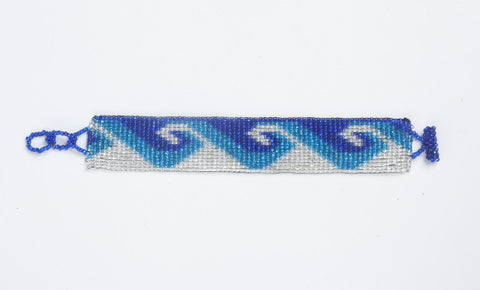 Flat Bracelet Ocean Waves Blues & White narrow