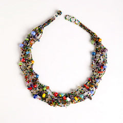 12 Strand Multicolored Bead Button & Stone Necklace