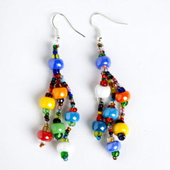 3 strand earrings, multicolored