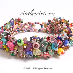 Bead Button & Stone Bracelet ~ multi