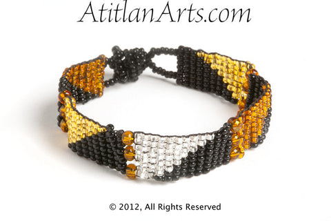 Flat Bracelet Graphic Triangles in Silver, Canela, Gold & Black narrow