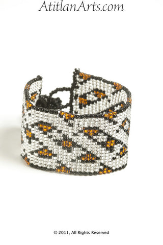 Flat Bracelet Lattice in Canela, Silver & Black narrow