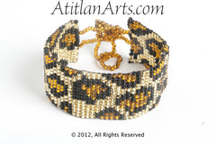 Flat Bracelet Leopard in Canela, Gold & Black narrow