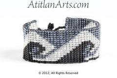 Flat Bracelet Ocean Waves in Black, Gray & Silver narrow