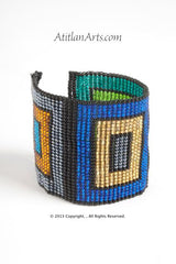 Flat Bracelet Squares Multicolored wide