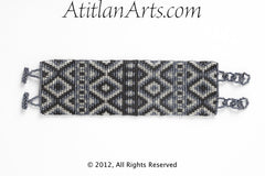 Flat Bracelet Mayan Diamonds in Black, Gray & Silver wide