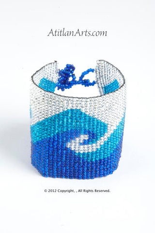 Flat Bracelet Ocean Wave Blues & White wide