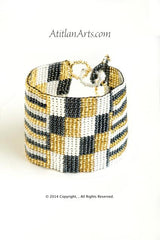 Flat Bracelet Gold, Black & White wide