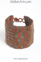 Flat Bracelet Coffee/Brick Red & Bronze wide
