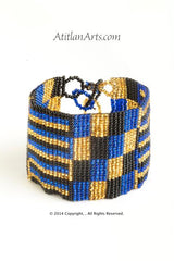 Flat Bracelet Gold, Black & Blue wide