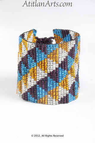 Flat Bracelet Triangles Violet Turquoise Gold Silver